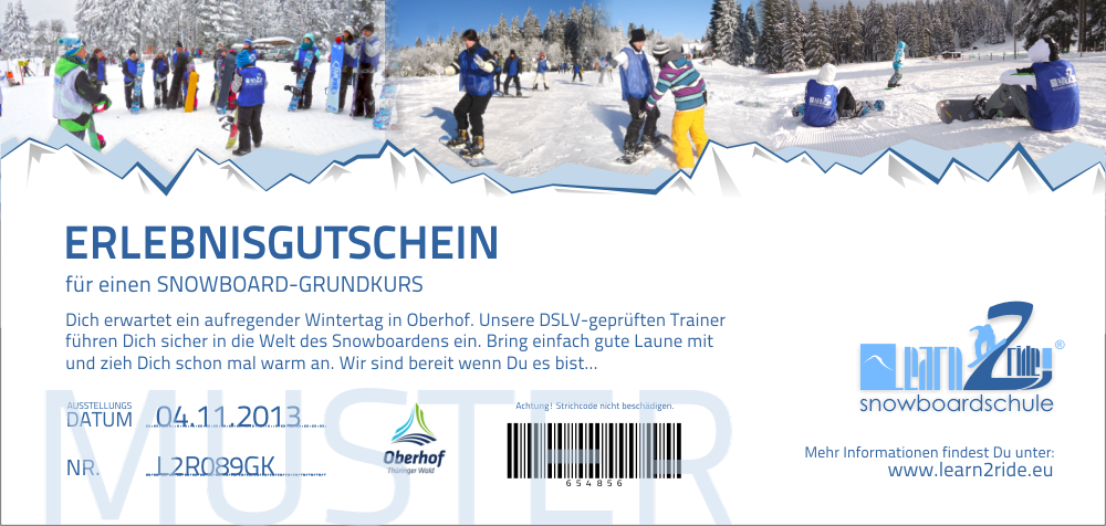 Snowboardkurs Gutschein - Learn2Ride Snowboardschule Oberhof